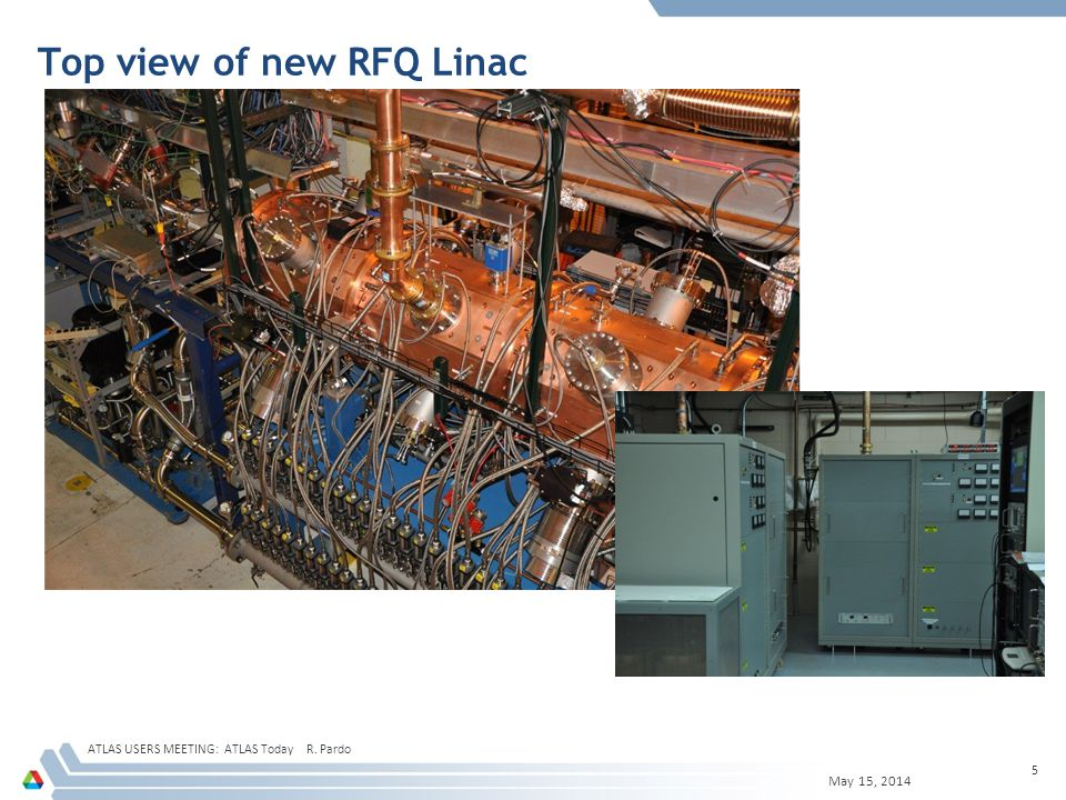 Top view of new RFQ Linac May 15, 2014 ATLAS USERS MEETING: ATLAS Today R. Pardo 5