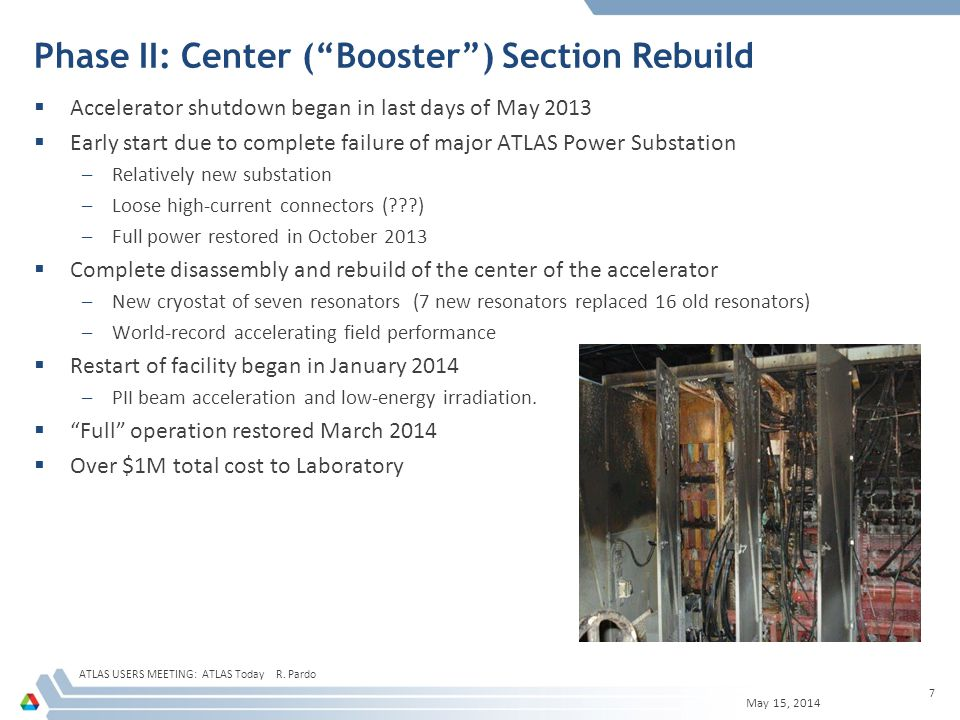 ATLAS Upgrade Activities: Second Phase New Booster Cryostat and complete Booster Rebuild May 15, 2014 ATLAS USERS MEETING: ATLAS Today R.