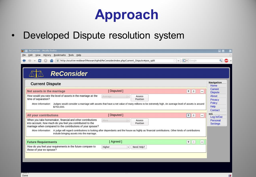 Approach Developed Dispute resolution system