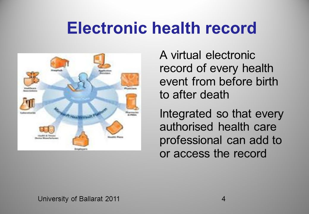 University of Ballarat 20114 Electronic health record A virtual electronic record of every health event from before birth to after death Integrated so that every authorised health care professional can add to or access the record