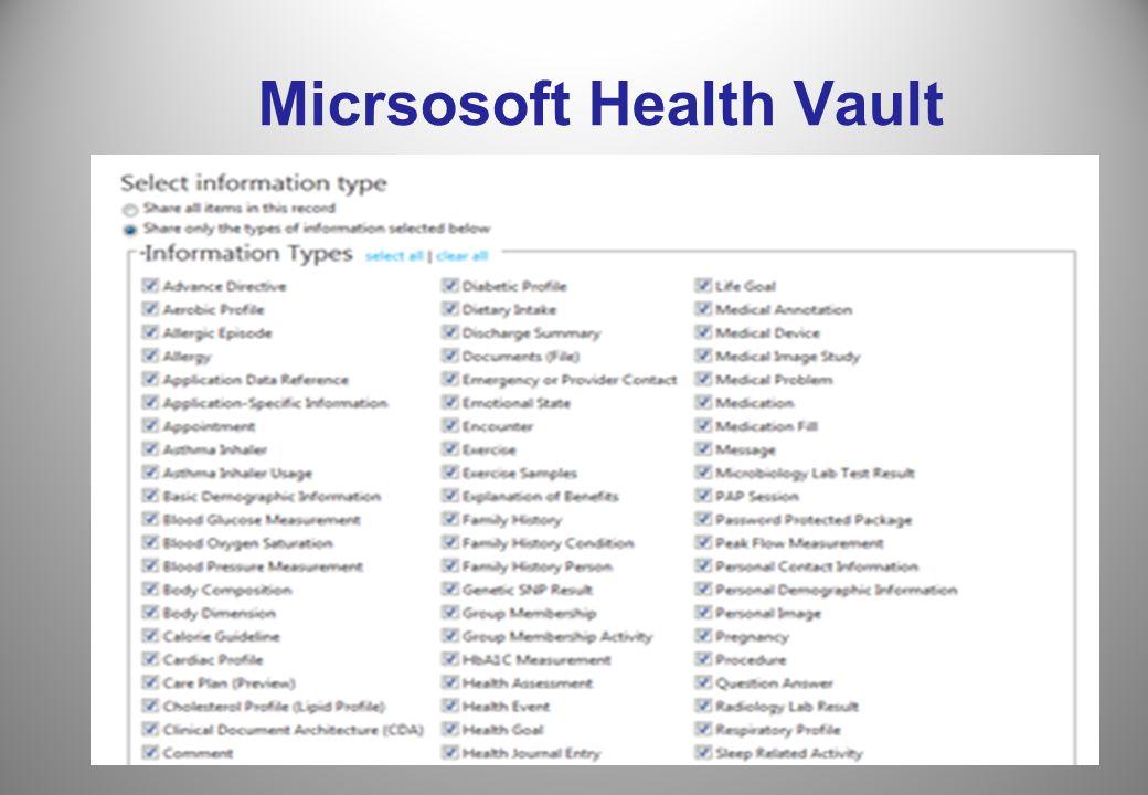 6 Micrsosoft Health Vault