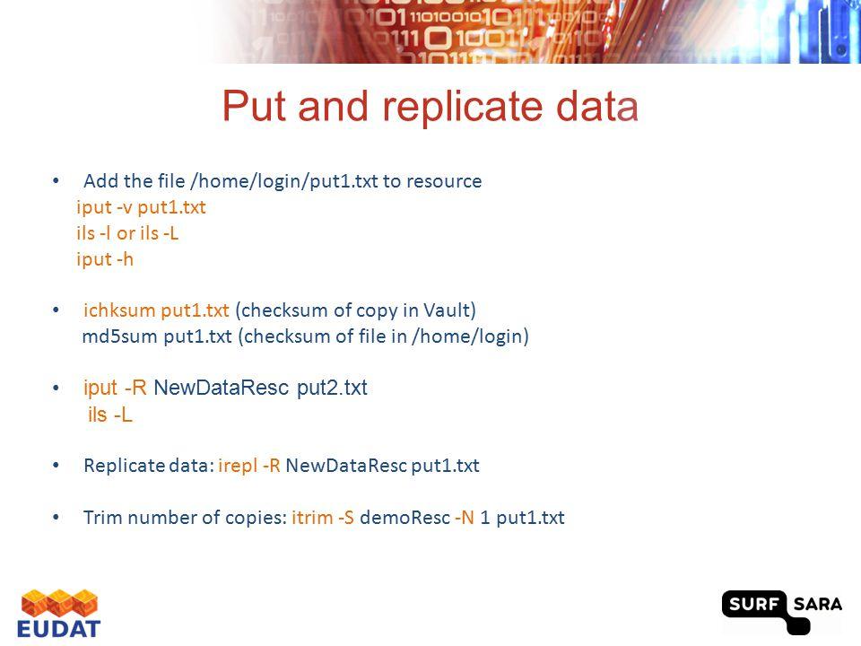 Put and replicate data Add the file /home/login/put1.txt to resource iput -v put1.txt ils -l or ils -L iput -h ichksum put1.txt (checksum of copy in V