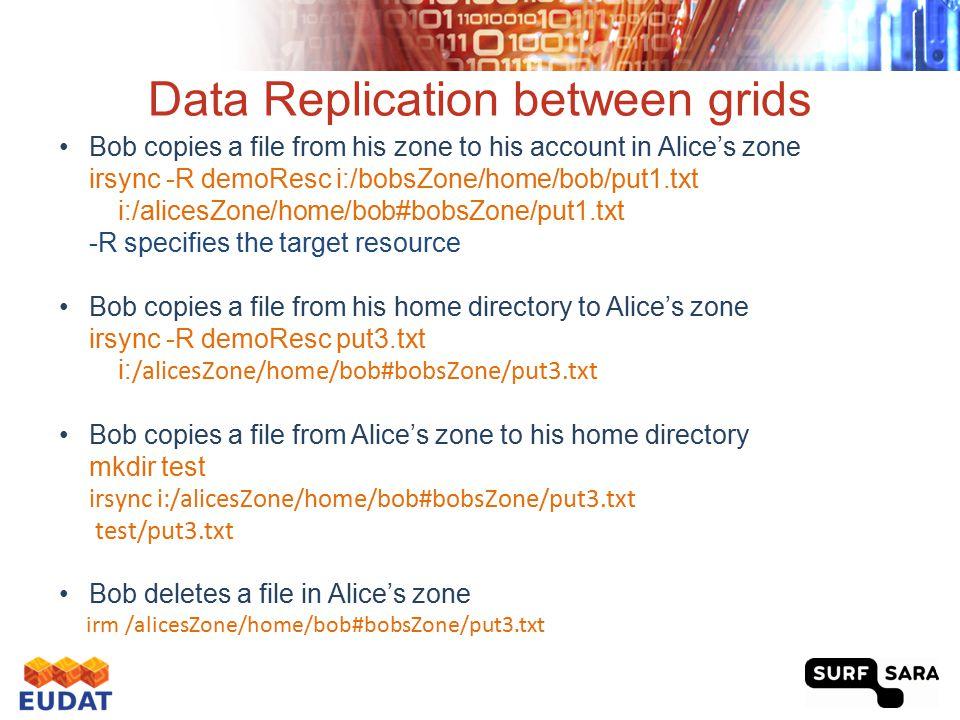 Data Replication between grids Bob copies a file from his zone to his account in Alice's zone irsync -R demoResc i:/bobsZone/home/bob/put1.txt i:/alic