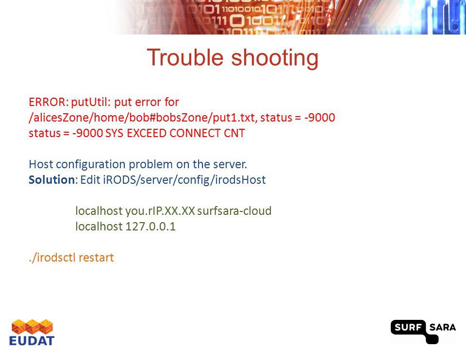 Trouble shooting ERROR: putUtil: put error for /alicesZone/home/bob#bobsZone/put1.txt, status = -9000 status = -9000 SYS EXCEED CONNECT CNT Host confi