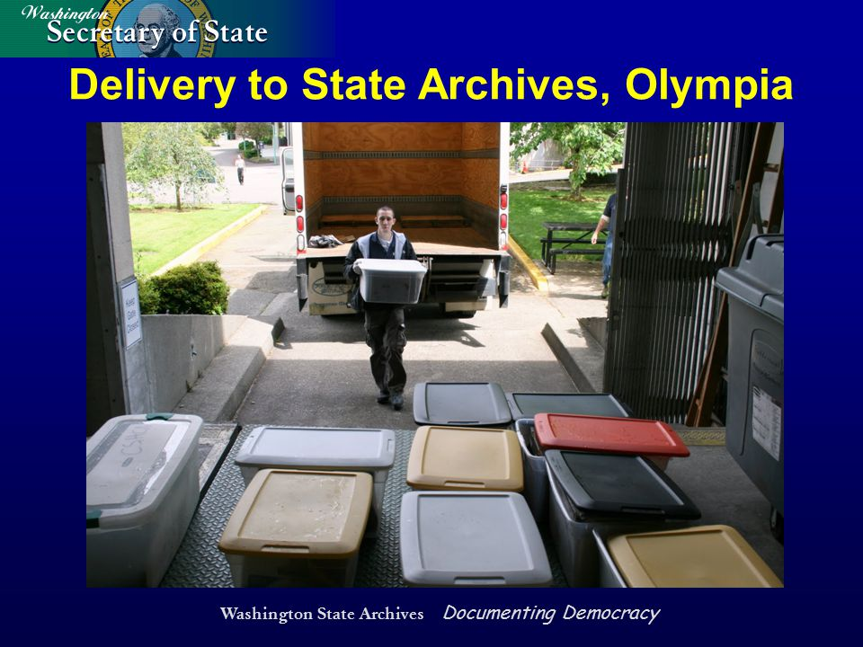 Washington State Archives Documenting Democracy Delivery to State Archives, Olympia