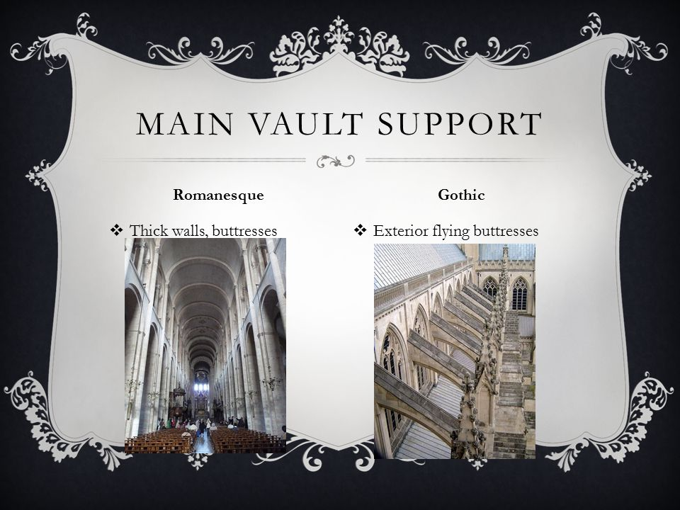  Thick walls, buttresses  Exterior flying buttresses MAIN VAULT SUPPORT Romanesque Gothic
