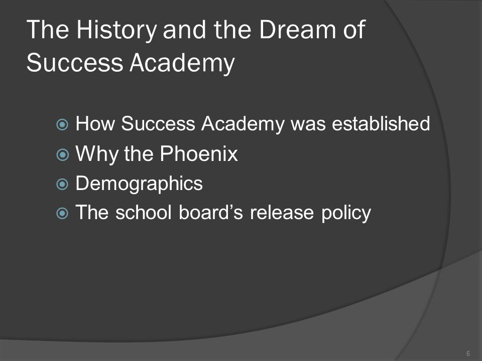 The History and the Dream of Success Academy  How Success Academy was established  Why the Phoenix  Demographics  The school board's release polic