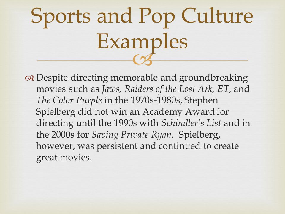   Despite directing memorable and groundbreaking movies such as Jaws, Raiders of the Lost Ark, ET, and The Color Purple in the 1970s-1980s, Stephen