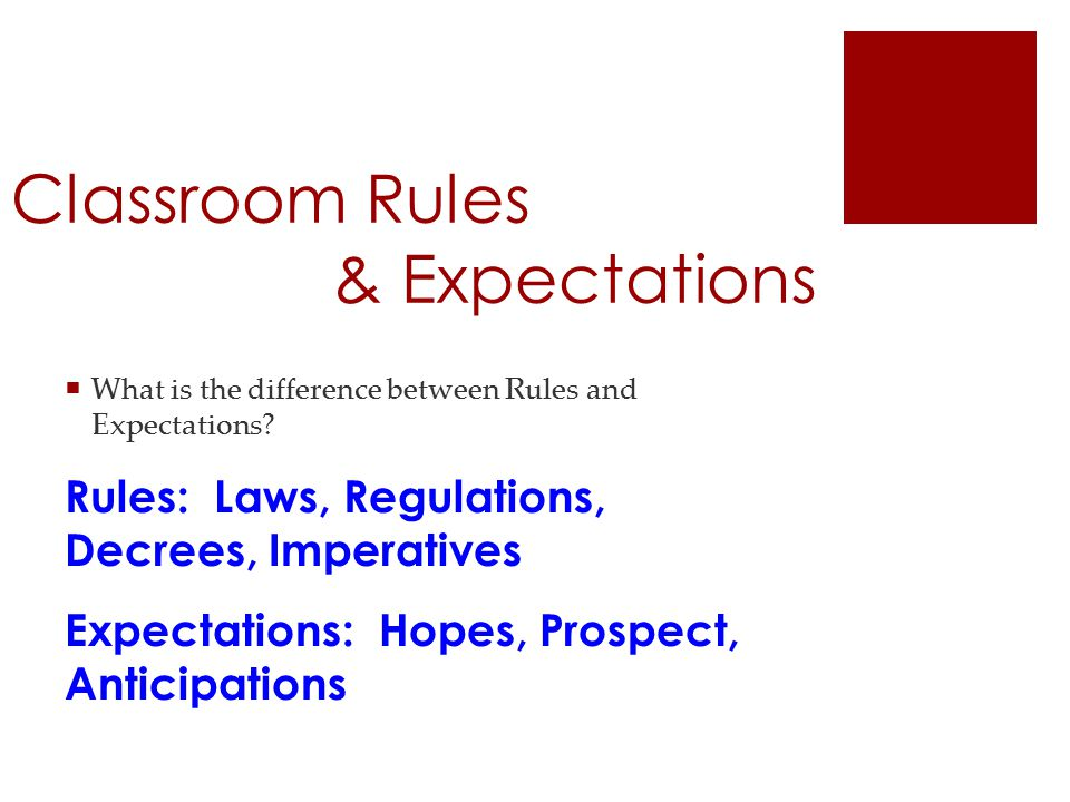 Classroom Rules & Expectations  What is the difference between Rules and Expectations.