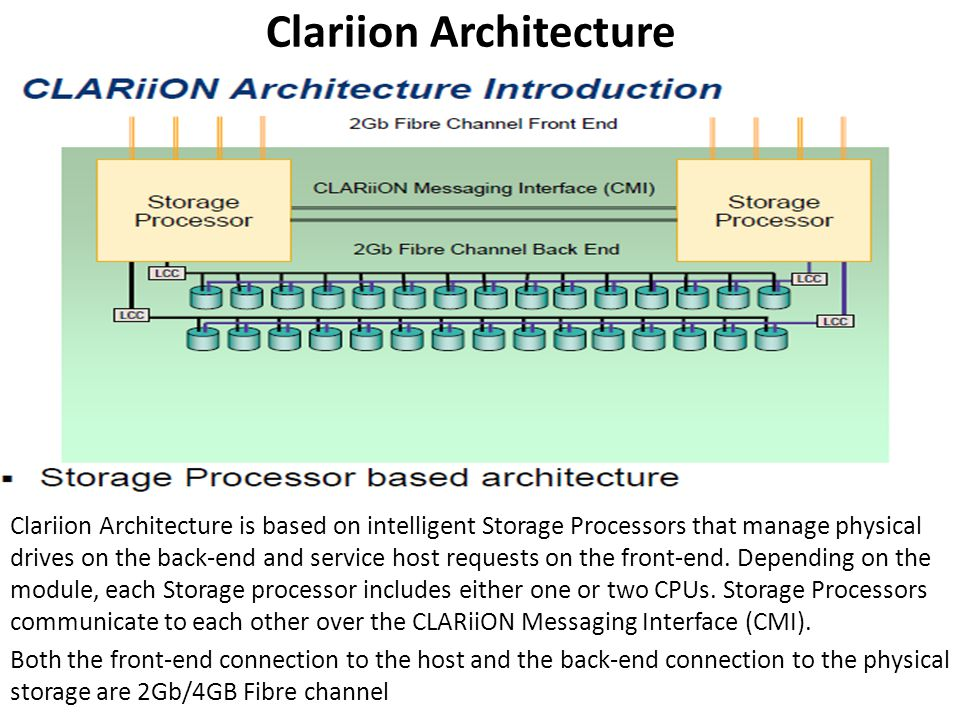 CLARIION Features Data Integrity –How CLARiiON keeps data safe (Mirrored write cache,vault, etc) Data Availability –Ensuring uninterrupted host access to data (Hardware redundancy,pathfailover software(powerpath), Error reporting capability) CLARiiON Performance –What makes CLARiiON a great performer (cache, Dual SPs, Dual/quad back-end FC buses ) CLARiiON Storage Objects –A first look at LUNs, and access to them ( RAID Groups, LUNs, MetaLUNs,Storage Groups)