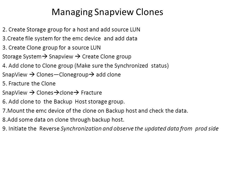 Managing Snapview Clones 2.