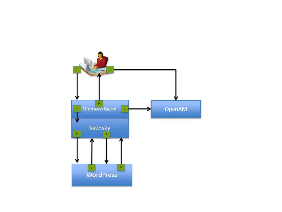 Gateway Gateway OpenAM OpenAM Agent WordPress 2 2 1 1 3 3 6 6 4 4 5 5 8 8 7 7 9 9