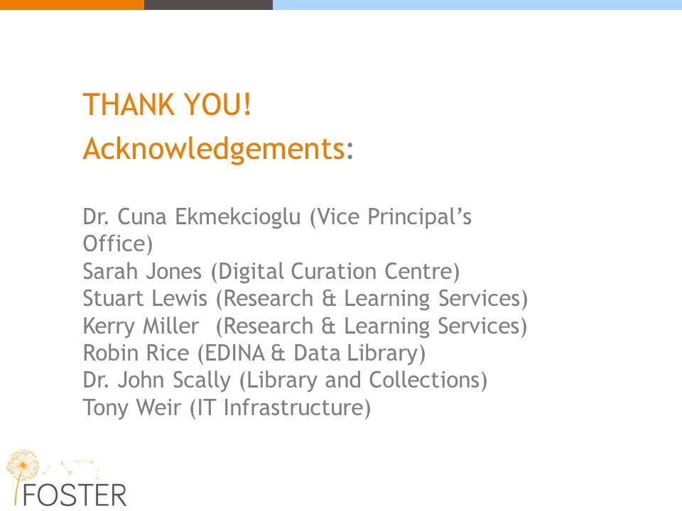THANK YOU! Acknowledgements: Dr. Cuna Ekmekcioglu (Vice Principal's Office) Sarah Jones (Digital Curation Centre) Stuart Lewis (Research & Learning Se