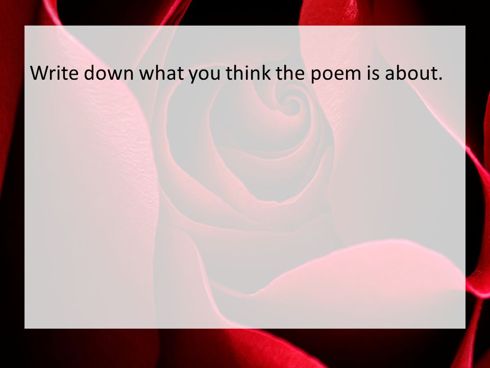 Write down what you think the poem is about.