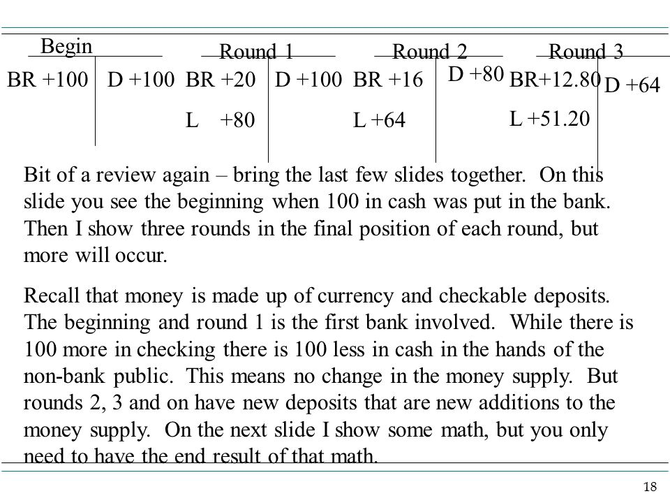 18 BR +100D +100BR +20 L +80 D +100BR +16 L +64 D +80 BR+12.80 L +51.20 D +64 Begin Round 1Round 2Round 3 Bit of a review again – bring the last few slides together.