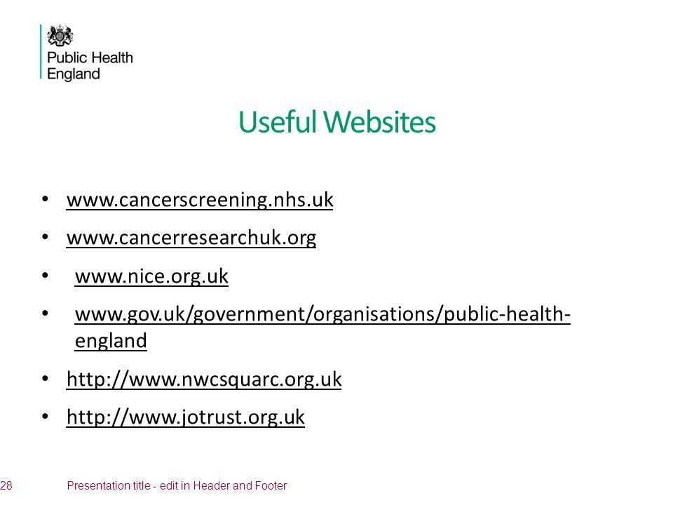 Useful Websites www.cancerscreening.nhs.uk www.cancerresearchuk.org www.nice.org.uk www.gov.uk/government/organisations/public-health- england www.gov