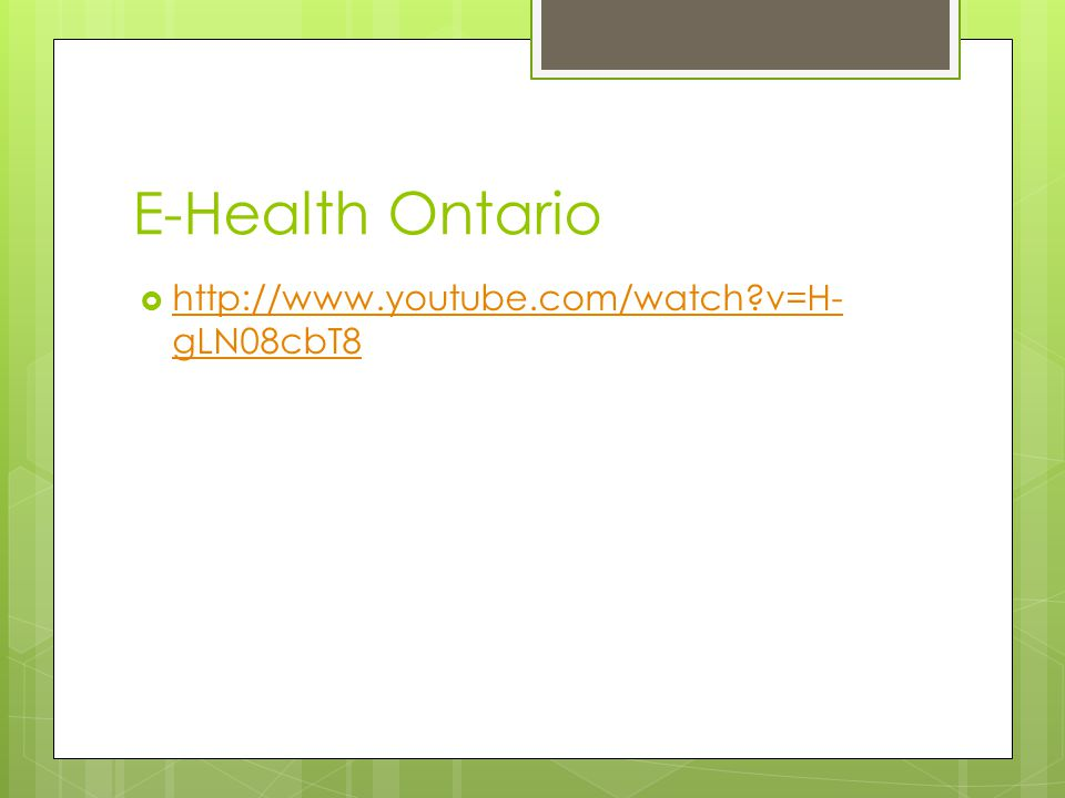 E-Health Ontario  In 2008 Ontario ventured into a provincial project- E-Health Ontario  An independent agency from Ministry of Health and Long Term Care  Focuses on establishing and maintaining electronic health records for all Ontarians (eHealthOntario, 2008)