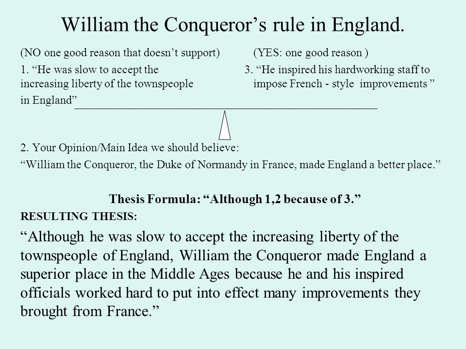 """William the Conqueror's rule in England. (NO one good reason that doesn't support)(YES: one good reason ) 1. """"He was slow to accept the 3. """"He inspire"""