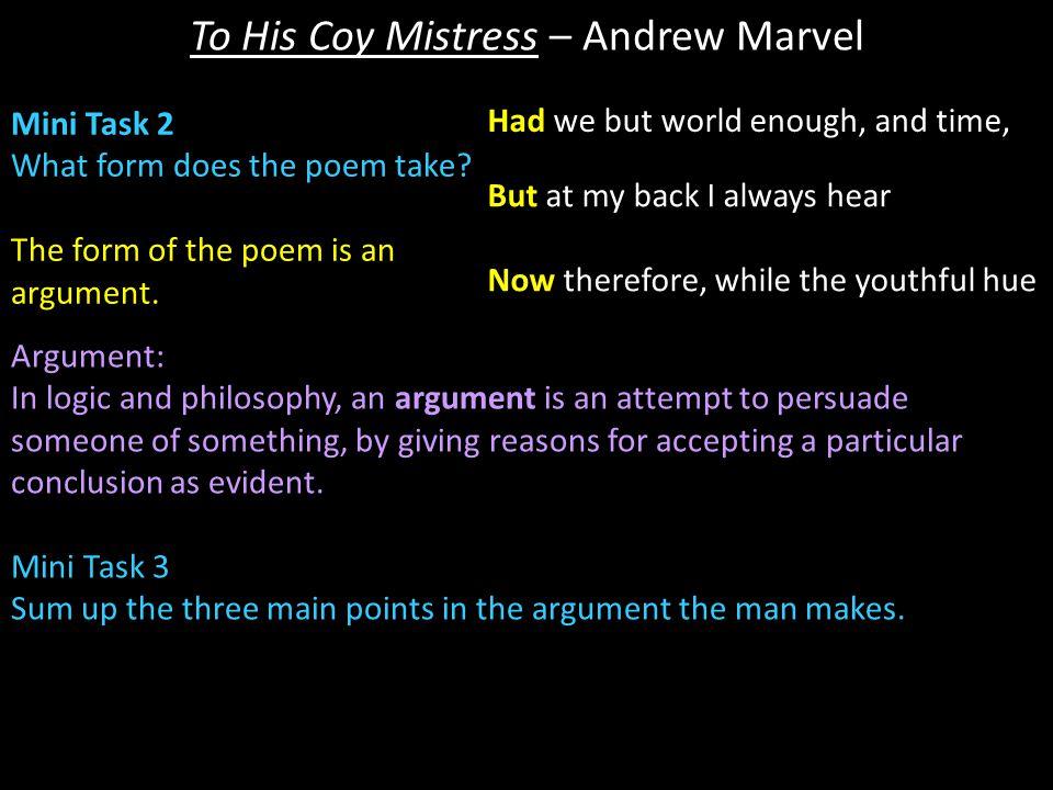 To His Coy Mistress – Andrew Marvel Mini Task 29 Explain what 'sport' means.