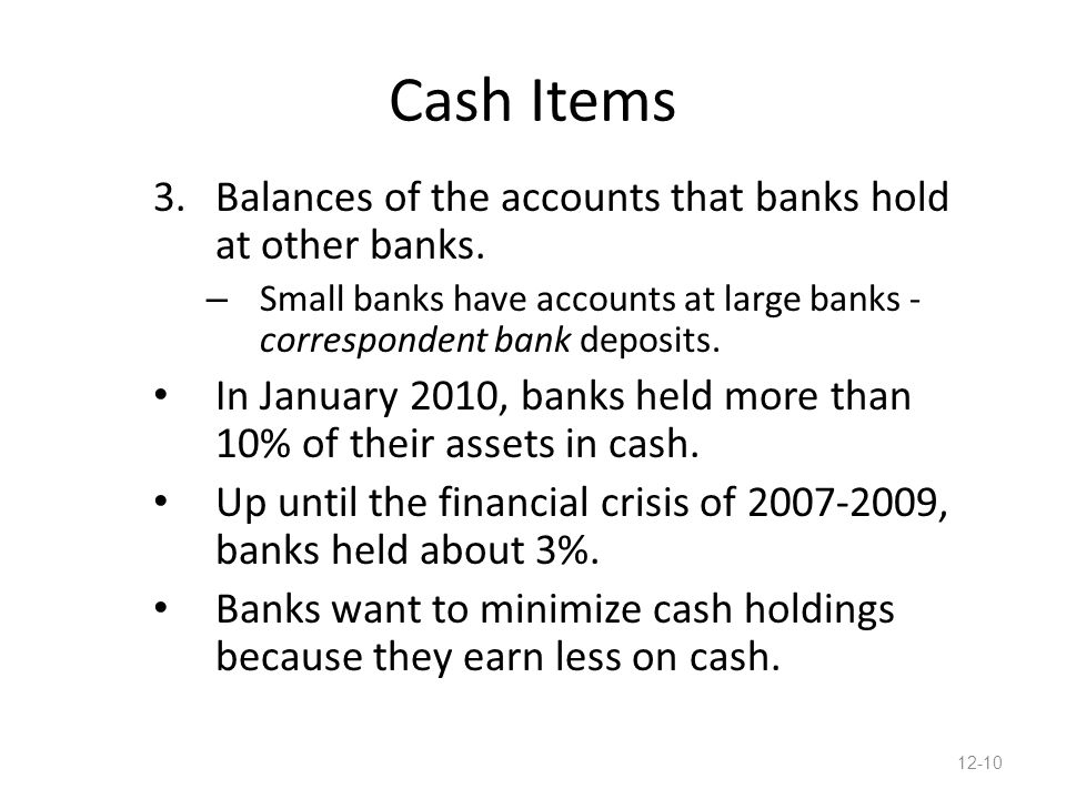 Cash Items 3.Balances of the accounts that banks hold at other banks.
