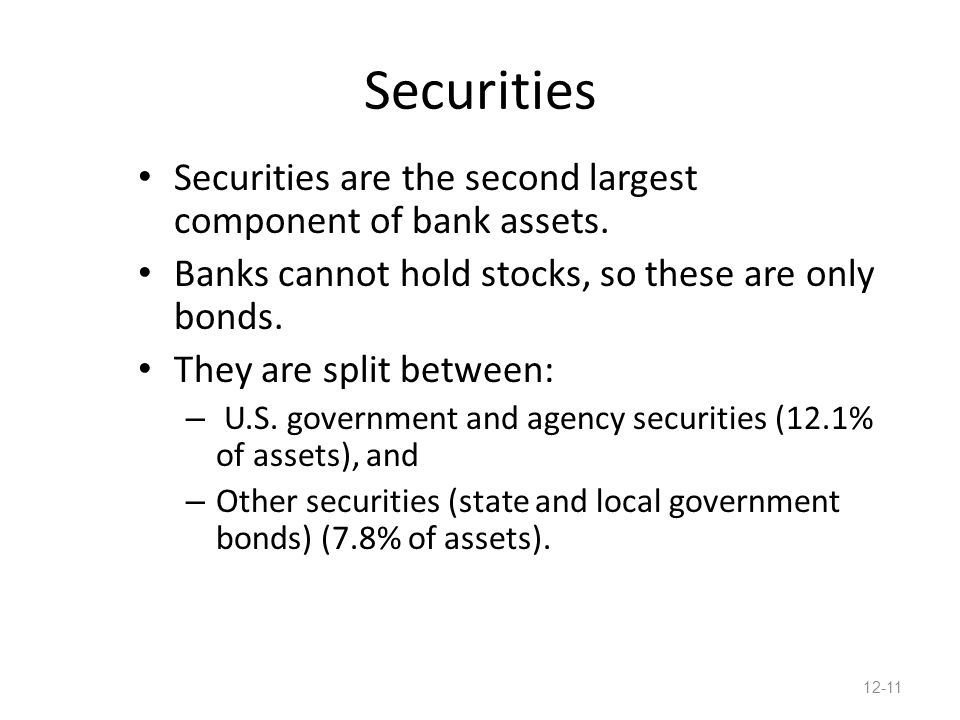 Securities Securities are the second largest component of bank assets.