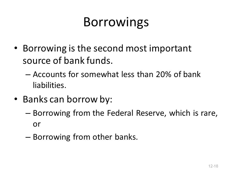 Borrowings Borrowing is the second most important source of bank funds.