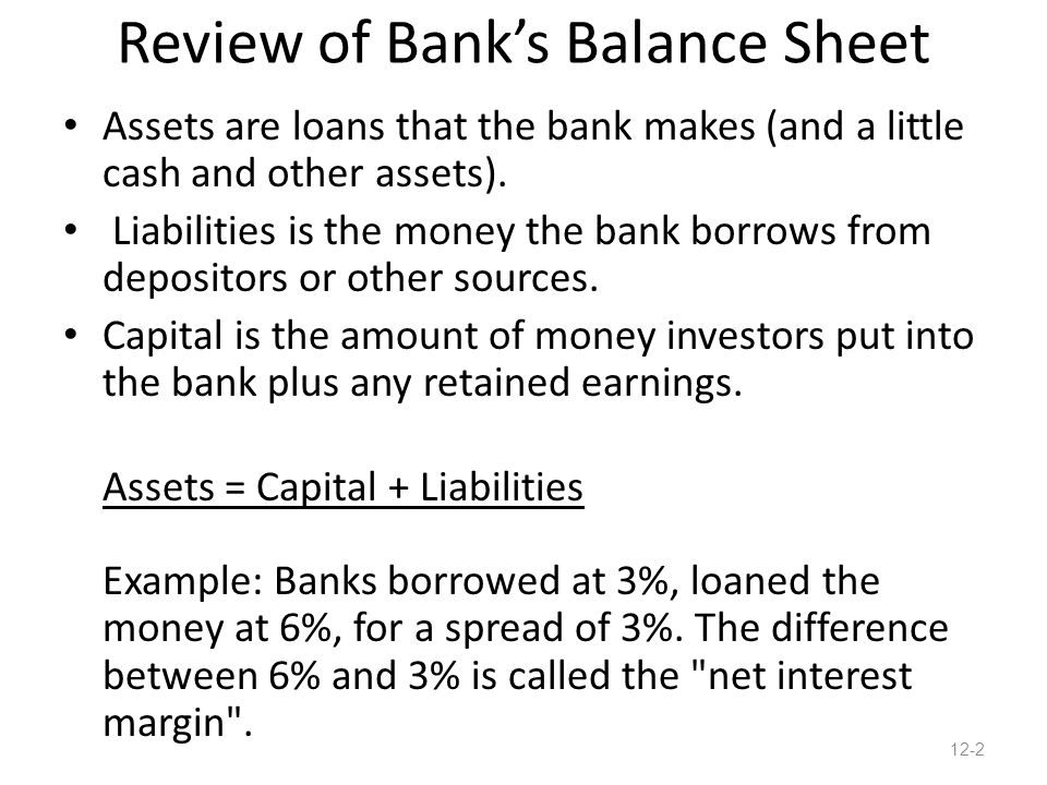 Review of Bank's Balance Sheet Assets are loans that the bank makes (and a little cash and other assets).