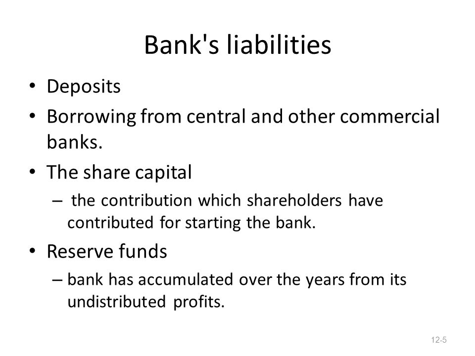 Bank s liabilities Deposits Borrowing from central and other commercial banks.