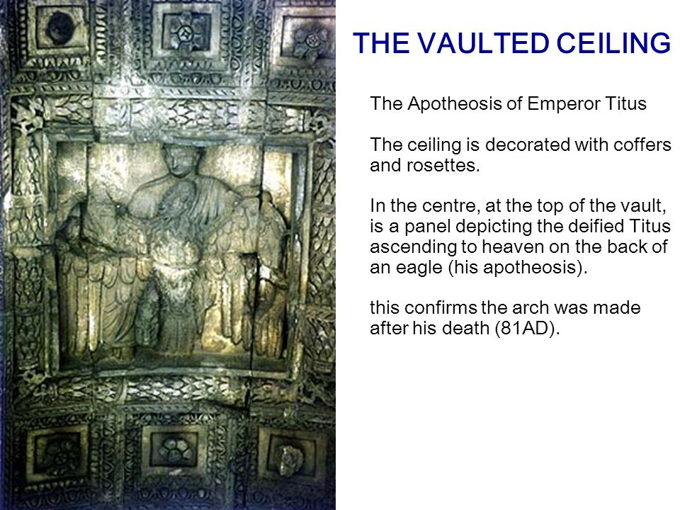 The Apotheosis of Emperor Titus The ceiling is decorated with coffers and rosettes.