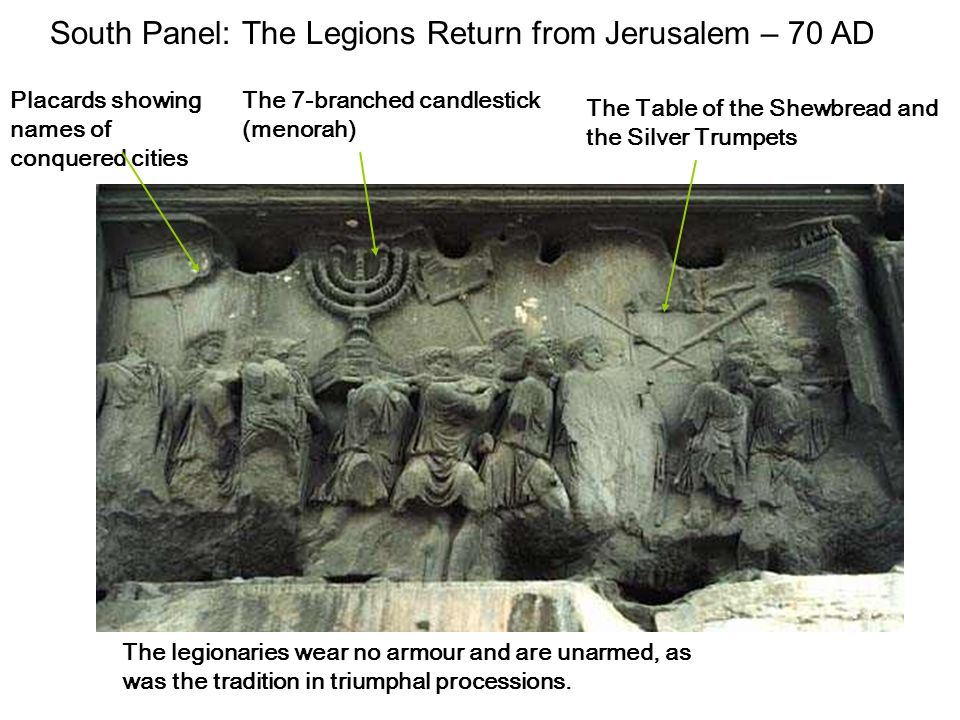 South Panel: The Legions Return from Jerusalem – 70 AD The 7-branched candlestick (menorah) Placards showing names of conquered cities The Table of th
