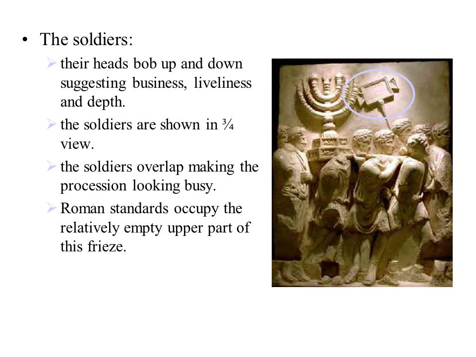 The soldiers:  their heads bob up and down suggesting business, liveliness and depth.