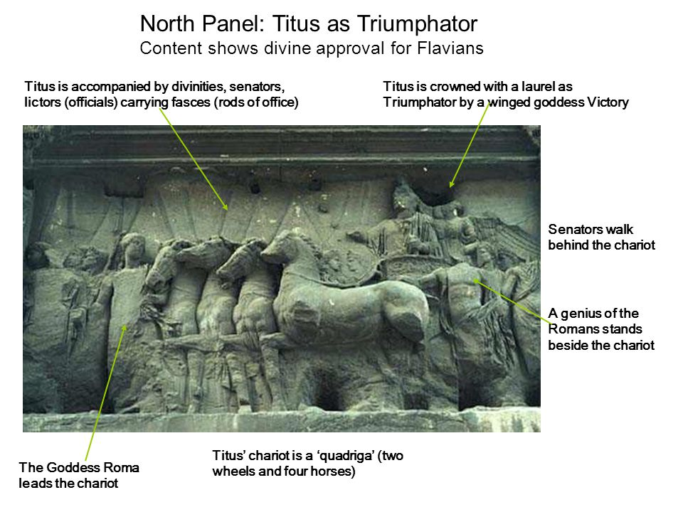 North Panel: Titus as Triumphator Content shows divine approval for Flavians Titus is crowned with a laurel as Triumphator by a winged goddess Victory