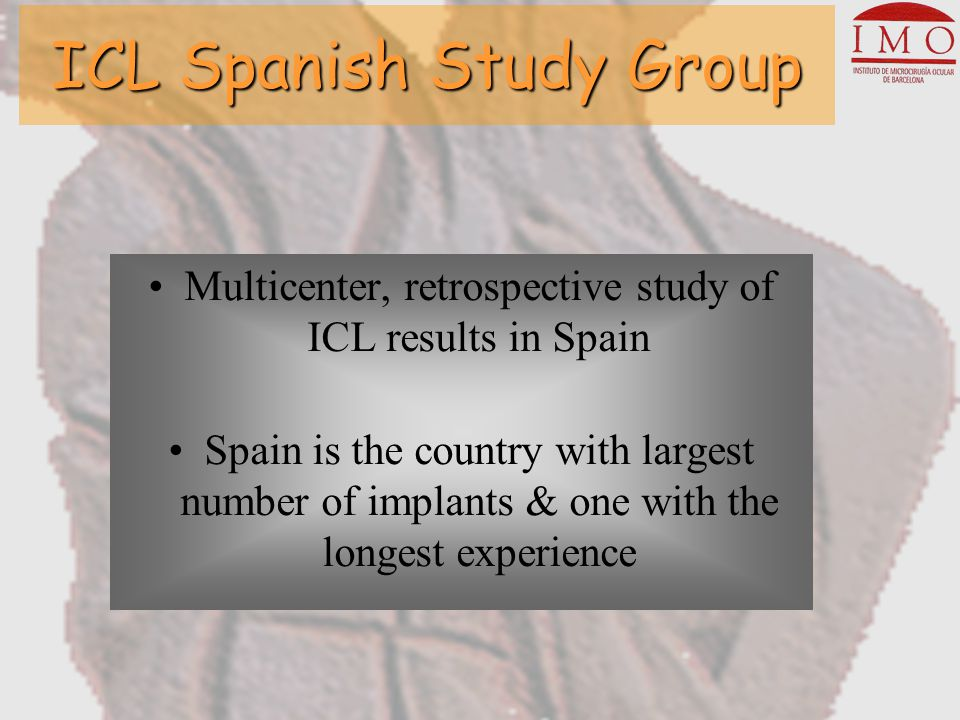 The ICL Spanish Study Group IRS Meeting Daniel Elies