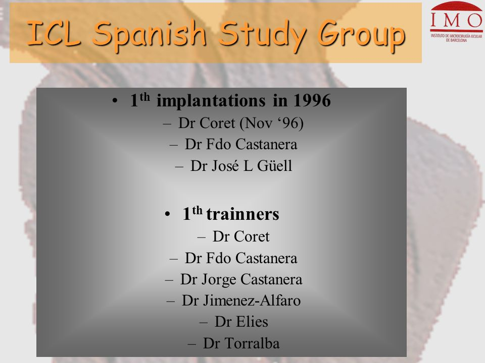 ICL Spanish Study Group Group 1 : 2548 eyes Complications At the time of surgery: –ICL upside-down = 1 –Iris hemorrage = 1 –Intraoperative miosis =1 –Luxation of ICL = 1 –Need post-surgical PI = 1 –Excessive vault = 1 1 Day: –Angle closure = 5 –Pupil block = 5 –Crystalline touch = 3 –Hyphema = 1