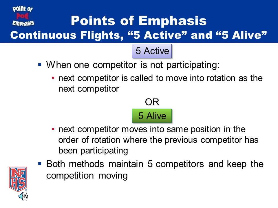 Points of Emphasis Continuous Flights, 5 Active and 5 Alive 5 Active  When one competitor is not participating: next competitor is called to move into rotation as the next competitor OR 5 Alive next competitor moves into same position in the order of rotation where the previous competitor has been participating  Both methods maintain 5 competitors and keep the competition moving
