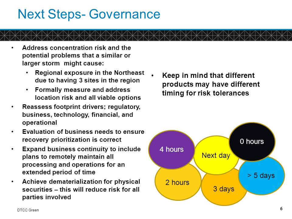 Next Steps- Planning DTCC Green Develop a more comprehensive inventory of all assets across people, places, and things Continue to ensure we have all the required skills, resources and capabilities to seamlessly handle operations and functions across all sites Enhance general logistics and procedures; including up-to-date mailing and phone number lists and ensuring employees have all equipment necessary for remote access as well as have all sign-in information available 7 Integrate plans to include recovery of people, places and things