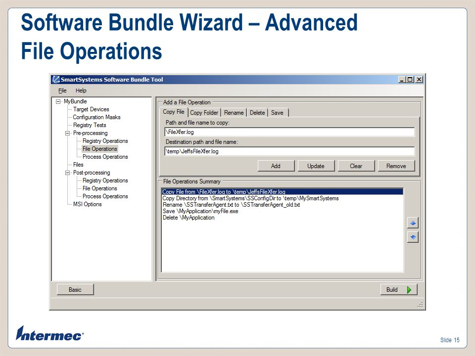 Slide 14 Software Bundle Wizard – Advanced Registry Operations
