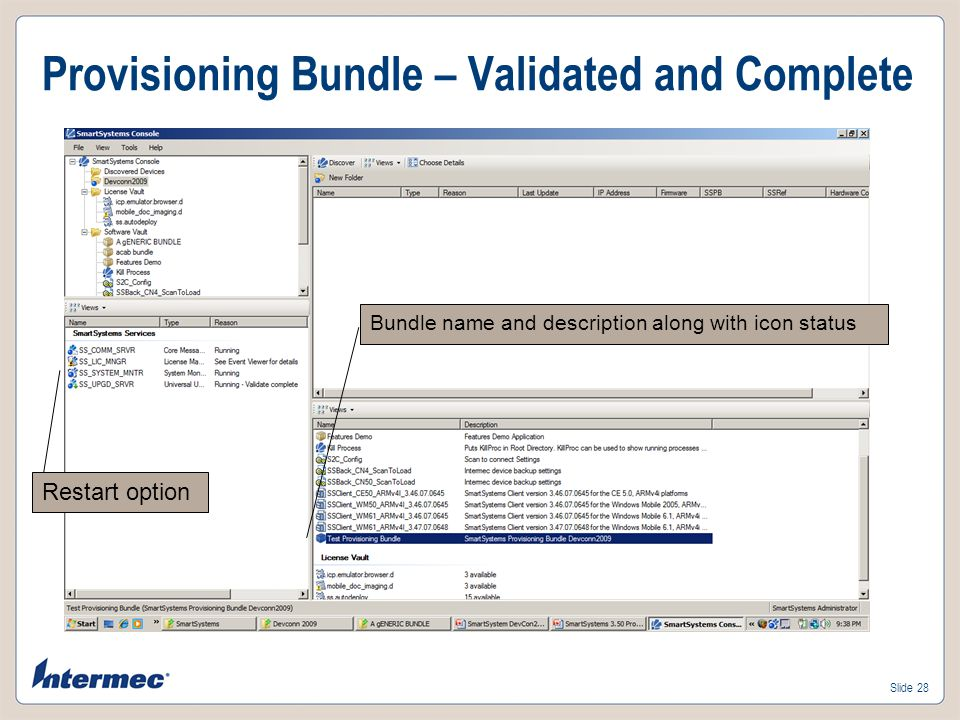 Slide 27 Provisioning Bundle – Save Name your bundle and give it a description.