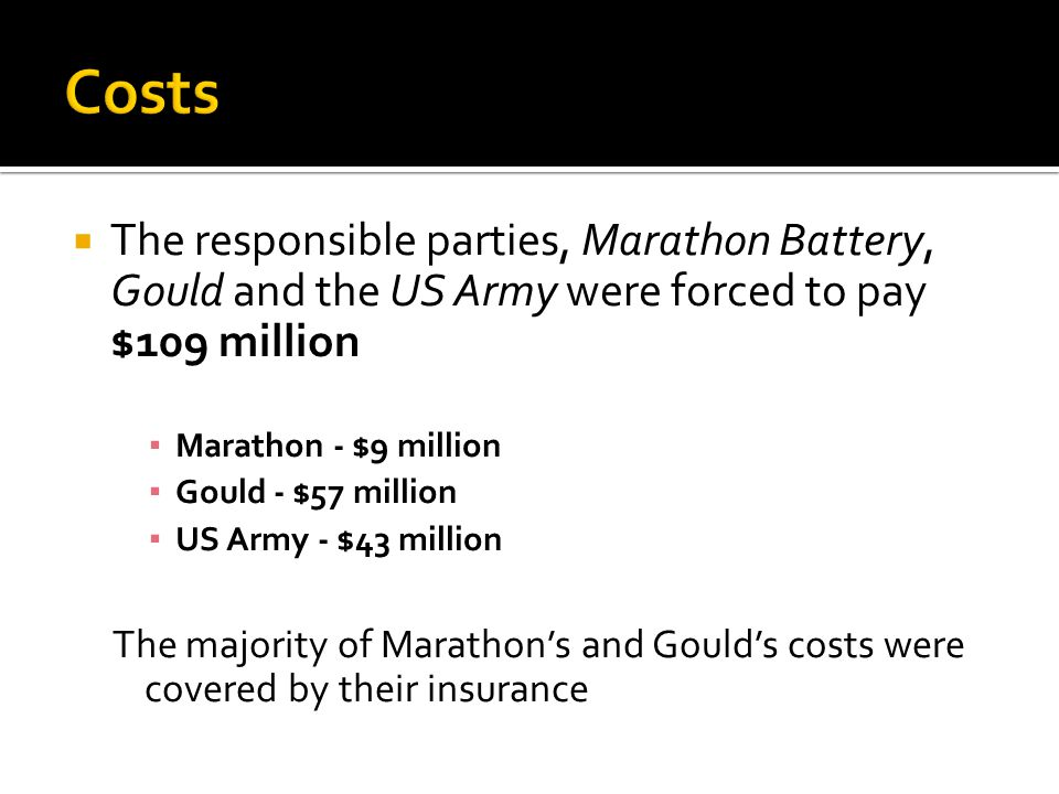  The responsible parties, Marathon Battery, Gould and the US Army were forced to pay $109 million ▪ Marathon - $9 million ▪ Gould - $57 million ▪ US Army - $43 million The majority of Marathon's and Gould's costs were covered by their insurance