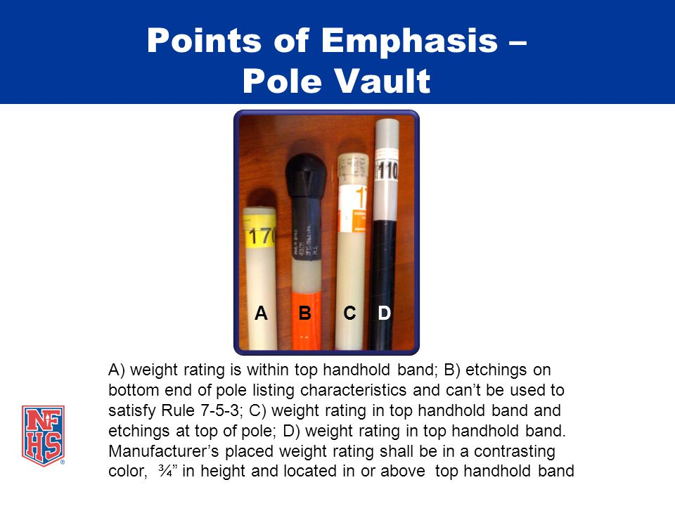 Points of Emphasis – Pole Vault A) weight rating is within top handhold band; B) etchings on bottom end of pole listing characteristics and can't be used to satisfy Rule 7-5-3; C) weight rating in top handhold band and etchings at top of pole; D) weight rating in top handhold band.