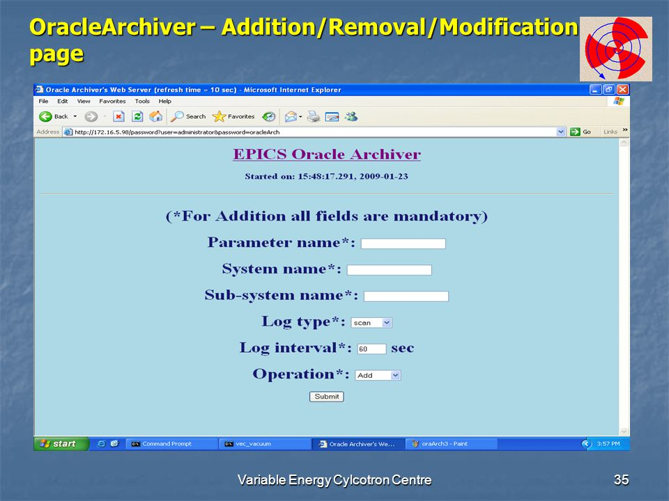 Variable Energy Cylcotron Centre35 OracleArchiver – Addition/Removal/Modification page
