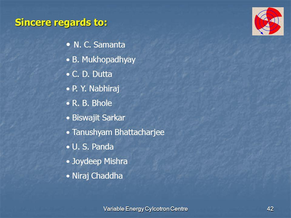Variable Energy Cylcotron Centre42 Sincere regards to: N. C. Samanta B. Mukhopadhyay C. D. Dutta P. Y. Nabhiraj R. B. Bhole Biswajit Sarkar Tanushyam