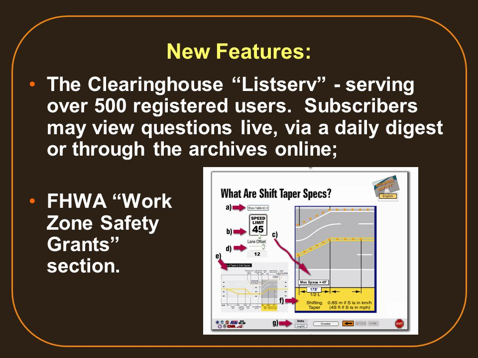 New Features: The Clearinghouse Listserv - serving over 500 registered users.