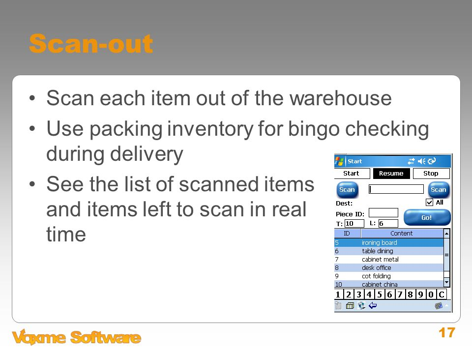 17 Scan-out Scan each item out of the warehouse Use packing inventory for bingo checking during delivery See the list of scanned items and items left to scan in real time