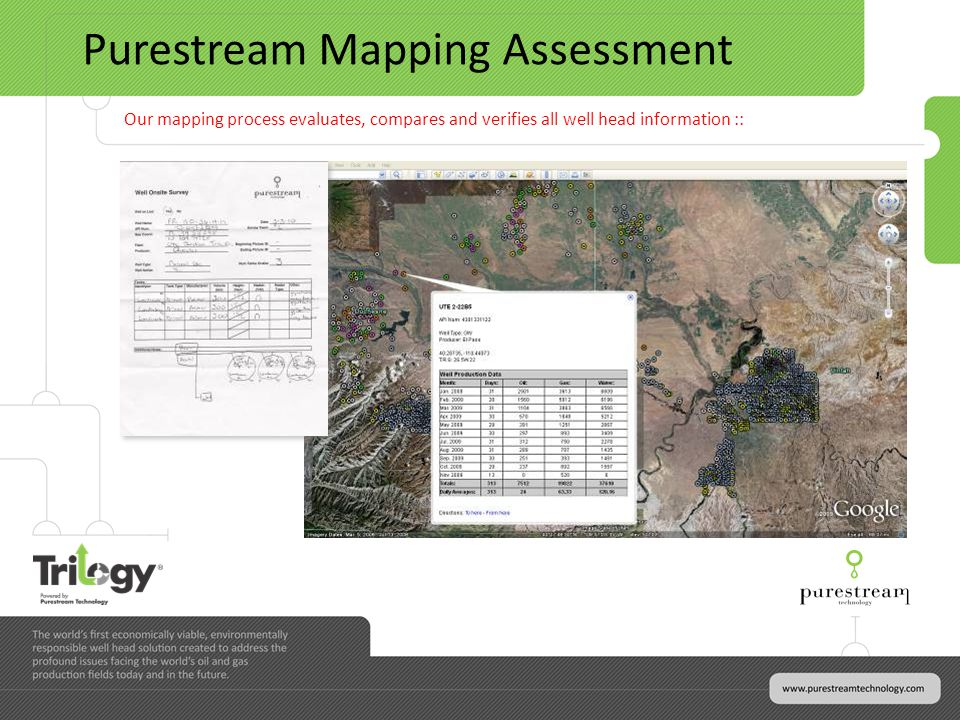 Purestream Mapping Assessment Our mapping process evaluates, compares and verifies all well head information ::