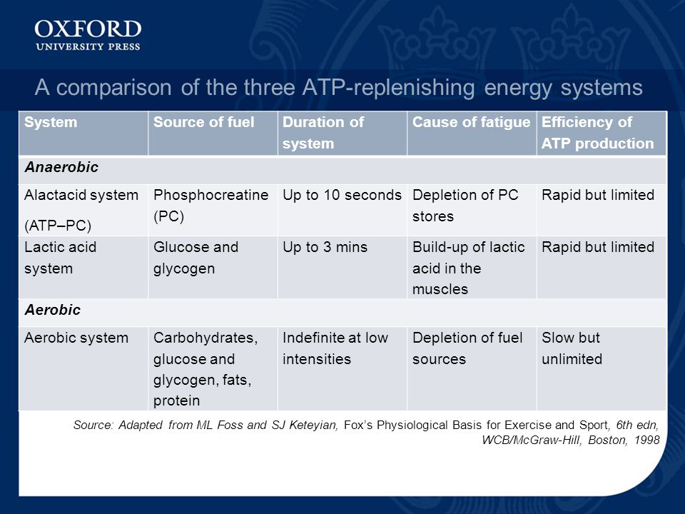 A comparison of the three ATP-replenishing energy systems SystemSource of fuel Duration of system Cause of fatigue Efficiency of ATP production Anaerobic Alactacid system (ATP–PC) Phosphocreatine (PC) Up to 10 seconds Depletion of PC stores Rapid but limited Lactic acid system Glucose and glycogen Up to 3 mins Build-up of lactic acid in the muscles Rapid but limited Aerobic Aerobic systemCarbohydrates, glucose and glycogen, fats, protein Indefinite at low intensities Depletion of fuel sources Slow but unlimited Source: Adapted from ML Foss and SJ Keteyian, Fox's Physiological Basis for Exercise and Sport, 6th edn, WCB/McGraw-Hill, Boston, 1998