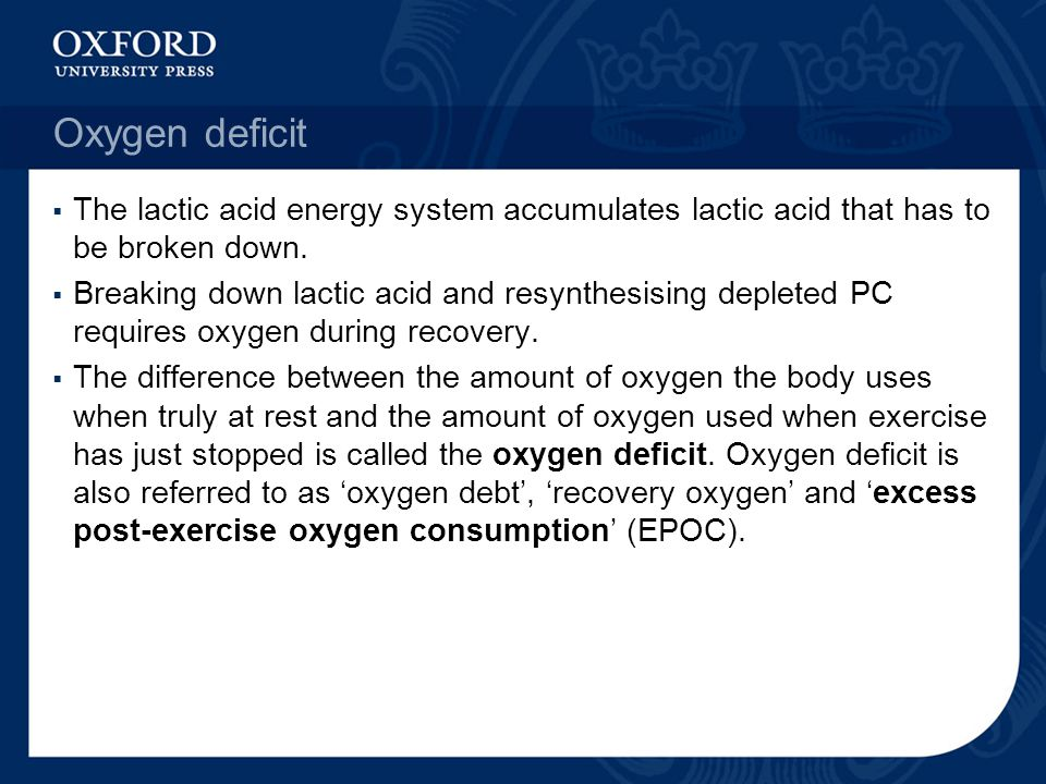 Oxygen deficit  The lactic acid energy system accumulates lactic acid that has to be broken down.