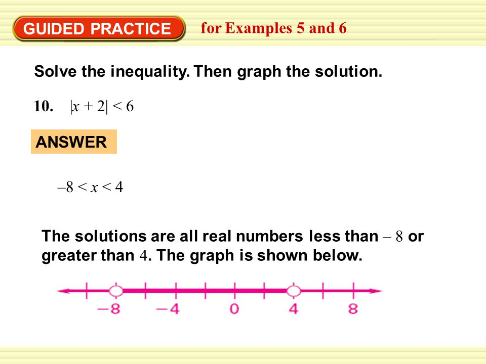 GUIDED PRACTICE for Examples 5 and 6 Solve the inequality.