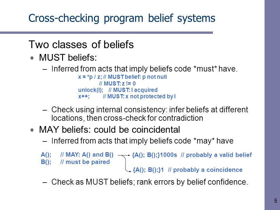 5 Cross-checking program belief systems Two classes of beliefs MUST beliefs: –Inferred from acts that imply beliefs code *must* have. –Check using int