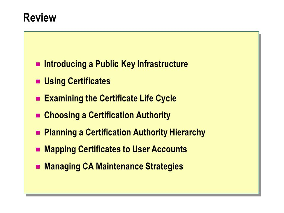Review Introducing a Public Key Infrastructure Using Certificates Examining the Certificate Life Cycle Choosing a Certification Authority Planning a Certification Authority Hierarchy Mapping Certificates to User Accounts Managing CA Maintenance Strategies